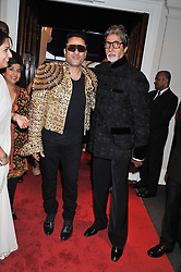 Left to right, photographer RAM SHERGILL and Bollywood Superstar AMITABH BACHCHAN at the launch of the India Fantastique Exhibition and book launch featuring photographs by Ram Shergill and fashion by India's leading couturiers Abu Jani and Sandeep Khosla held at Sotheby's, 34-35 New Bond Street, London on 5th September 2012.