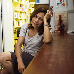French TV reporter Memona Hintermann, here at her editor's office in Paris, France. 27 May 2010. Photo : Antoine Doyen