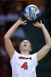 28 September 2008: Erin Lindsey sets the ball for a Redbird attack. The Braves took the first set, but the Illinois State Redbirds grabbed 3 sets in a row to win the match 3 sets to 1. The Bradley Braves visited the Illinois State Redbirds at Redbird Arena on the campus of Illinois State University in Normal Illinois.