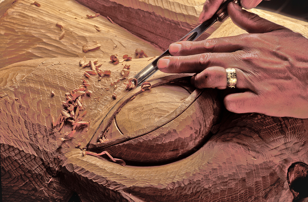 Detail of totem being carved by Israel Shotridge, Ketchikan, Alaska