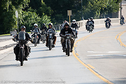 Rich Rau and Ryan Allen at the head of a pack of riders on the Motorcycle Cannonball coast to coast vintage run. Stage 6 (260 miles) from Bourbonnais, IL to Cedar Rapids, IA. Thursday September 13, 2018. Photography ©2018 Michael Lichter.
