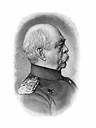 Otto von Bismarck (1815-98) German (Prussian) statesman. Bismarck in 1885 at the age of 70.  Engraving. Profile
