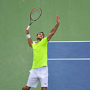 MARIN CILIC of Croatia plays against Alexander Zverev of Germany at Day 5 of the Citi Open at the Rock Creek Tennis Center in Washington, D.C. Cilic won in straight sets.