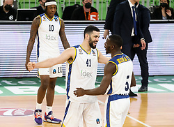 Ginat  Tomer of Boulogne Metropolitans 92 and Konate  Lahaou of Boulogne Metropolitans 92 celebrate after winning during basketball match between KK Partizan NIS Belgrade (SRB) and Boulogne Metropolitans 92 (FRA) in Top 16 Round 6 of 7DAYS Eurocup 2020/21, on March 10, 2021 in Arena Stozice, Ljubljana, Slovenia. Photo by Vid Ponikvar / Sportida