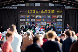 WM3 are presented to the crowds in Oudenaarde at the Women's Ronde van Vlaanderen 2017. A 153 km road race on April 2nd 2017, starting and finishing in Oudenaarde, Belgium. (Photo by Sean Robinson/Velofocus)
