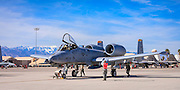 "Final checks on an A-10 ""Warthog"", created just prior to departure at Nellis Air Force Base, near Las Vegas, Nevada.  <br />