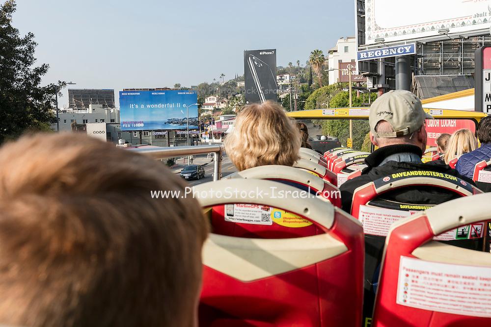 Tourists on a tour bus. Los Angeles, California