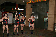 USA, Nevada, Las Vegas, Show girls in fish net stockings and corsets