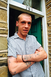 Homeless man now living in temporary accommodation through a housing association; Bradford UK