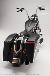 """""""Keltic King"""", a 2012 Road King bagger with celtic knot design engraving built by Paul Yaffe's Bagger Nation. Photographed by Michael Lichter in Boulder, CO on May 20, 2016. ©2016 Michael Lichter."""