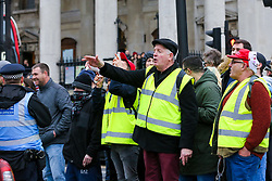 © Licensed to London News Pictures. 12/01/2019. London, UK. Anti-Brexit and Pro-Brexit protesters in Trafalgar Square with a increased level of Police presence. <br /> Photo credit: Dinendra Haria/LNP