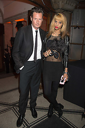 PERCY PARKER and JOY VIELI at the Veuve Clicquot Widow Series launch party hosted by Nick Knight and Jo Thornton MD Moet Hennessy UK held at The College, Central St.Martins, 12-42 Southampton Row, London on 29th October 2015.