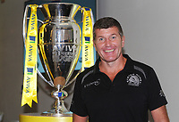 Rugby Union - 2017 / 2018 Aviva Premiership - New Season Launch Photocall<br /> <br /> Exeter Chiefs Director of Rugby, Rob Baxter poses with the Aviva Championship trophy at Twickenham.<br /> <br /> COLORSPORT/ANDREW COWIE