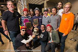 The Cycle Zombies crew with friends at the awards ceremony of the Mooneyes Yokohama Hot Rod & Custom Show. Yokohama, Japan. December 6, 2015.  Photography ©2015 Michael Lichter.