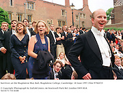Survivors at the Magdalene May Ball, Magdalene College, Cambridge. 18 June 1997. Film 97582f35<br />