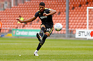 Free kick from Wimbledon forward Jake Jervis (10), on loan from Luton Town,  during the EFL Sky Bet League 1 match between Blackpool and AFC Wimbledon at Bloomfield Road, Blackpool, England on 20 October 2018.