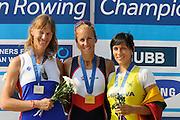 Plovdiv BULGARIA.   left. RUS W1X, Silver Medalist,Julia LEVINA  centre, CZE W1X, Gold Medalist, Mirka KNAPKOVA , right, LTU Donata VISTARTAINTE, medal ceremony women's single sculls .   2011 FISA European Rowing Championships, Plovdiv Rowing Centre   Sunday  18/09/2011  [Mandatory Credit; Peter Spurrier: Intersport Images]  Original Camera File No.  2011011991.jpg