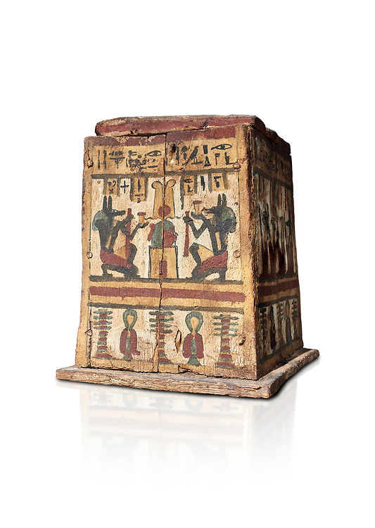 Ancient Egyptian pylon (gateway) shaped Canopic chest for internal organs, wood, Late  to Ptolemaic Period(722-40 BC), Egyptian Museum, Turin. Old Fund Cat 2427. White background,<br /> <br /> Canopic chests are cases used by Ancient Egyptians to contain the internal organs removed during the process of mummification. .<br /> <br /> If you prefer to buy from our ALAMY PHOTO LIBRARY  Collection visit : https://www.alamy.com/portfolio/paul-williams-funkystock/ancient-egyptian-art-artefacts.html  . Type -   Turin   - into the LOWER SEARCH WITHIN GALLERY box. Refine search by adding background colour, subject etc<br /> <br /> Visit our ANCIENT WORLD PHOTO COLLECTIONS for more photos to download or buy as wall art prints https://funkystock.photoshelter.com/gallery-collection/Ancient-World-Art-Antiquities-Historic-Sites-Pictures-Images-of/C00006u26yqSkDOM