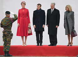 November 19, 2018 - Brussels, Belgium - L-R, Queen Mathilde of Belgium, President of France Emmanuel Macron, King Philippe - Filip of Belgium and First Lady of France Brigitte Macron stand at the official welcome ceremony at the Paleizenplein/ Place des Palais in Brussels on the first day of the state visit of the French Presient to Belgium. (Credit Image: © Benoit Doppagne/Belga via ZUMA Press)