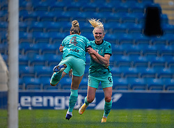 CHESTERFIELD, ENGLAND - Sunday, April 25, 2021: Liverpool's Amalie Thestrup (R) celebrates with team-mate Rhiannon Roberts (L) after scoring the only goal of the game during the FA Women's Championship game between Sheffield United FC Women and Liverpool FC Women at the Technique Stadium. Liverpool won 1-0. (Pic by David Rawcliffe/Propaganda)