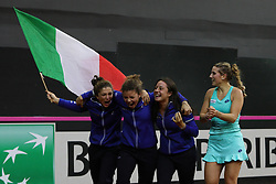 February 11, 2018 - Chieti, CH, Italy - The Italy team celebrate the victory of 2018 Fed Cup BNP Paribas World Group II First Round match between Italy and Spain at Pala Tricalle ''Sandro Leombroni'' on February 11, 2018 in Chieti, Italy. (Credit Image: © Danilo Di Giovanni/NurPhoto via ZUMA Press)