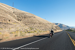 Doug Jones riding his 1929 Indian 101 Scout during Stage 15 (244 miles) of the Motorcycle Cannonball Cross-Country Endurance Run, which on this day ran from Lewiston, Idaho to Yakima, WA, USA. Saturday, September 20, 2014.  Photography ©2014 Michael Lichter.