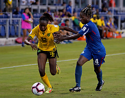 October 12, 2018 - Edinburgh, Scotland, United Kingdom - Edinburg, NC - OCTOBER 11: 2018.L-R Sashana Campbell of Jamaica and Jessica Men of Cuba during CONCACAF Women's Championship Group B match between Cuba against Jamaica at H-E-BPark Stadium, Edinburg,  on October 11, 2018  (Credit Image: © Action Foto Sport/NurPhoto via ZUMA Press)