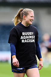 Lydia Thompson of Worcester Warriors Women warms up in a Rugby Against Racism tee shirt - Mandatory by-line: Nick Browning/JMP - 24/10/2020 - RUGBY - Sixways Stadium - Worcester, England - Worcester Warriors Women v Wasps FC Ladies - Allianz Premier 15s