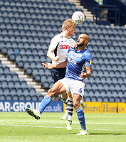 Preston North End's Jayden Stockley in action with Cardiff City's Curtis Nelson <br /> <br /> Photographer Mick Walker/CameraSport<br /> <br /> The EFL Sky Bet Championship - Preston North End v Cardiff  City - Saturday 27th June 2020 - Deepdale Stadium - Preston<br /> <br /> World Copyright © 2020 CameraSport. All rights reserved. 43 Linden Ave. Countesthorpe. Leicester. England. LE8 5PG - Tel: +44 (0) 116 277 4147 - admin@camerasport.com - www.camerasport.com