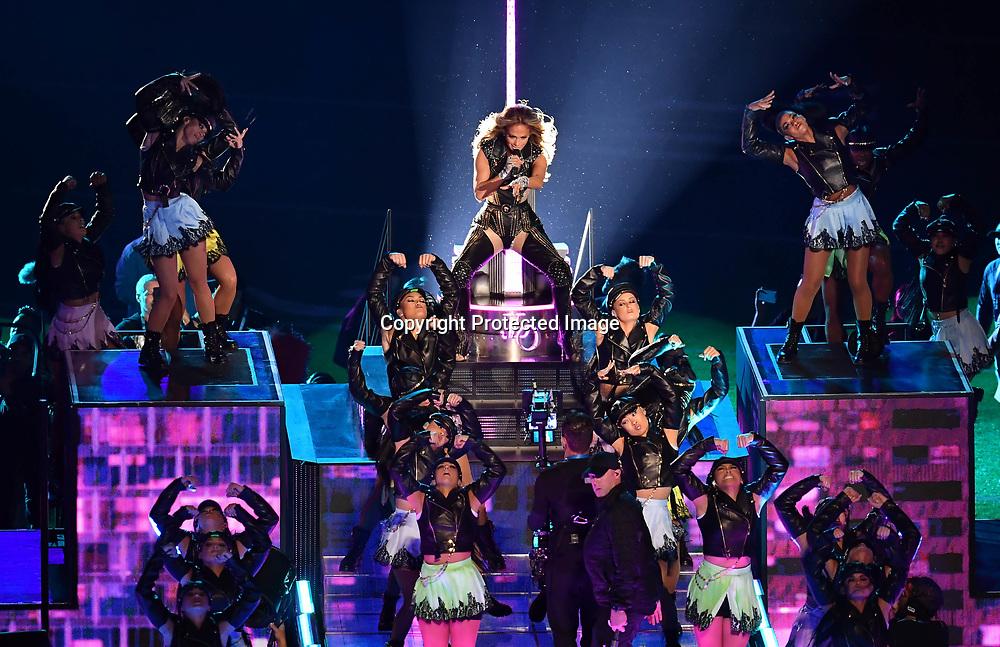 Feb 2, 2020; Miami Gardens, Florida, USA; Recording artist Jennifer Lopez performs at halftime in Super Bowl LIV between the Kansas City Chiefs and San Francisco 49ers at Hard Rock Stadium. Mandatory Credit: Steve Mitchell
