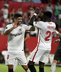 September 20, 2018 - Sevilla, Spain - Ever Banega of FC Sevilla and Quincy Promes of FC Sevilla celebrates the win (Credit Image: © Panoramic via ZUMA Press)