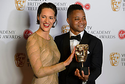 Cuba Gooding Jr and Phoebe Waller-bridge in the press room at the Virgin TV British Academy Television Awards 2017 held at Festival Hall at Southbank Centre, London. PRESS ASSOCIATION Photo. Picture date: Sunday May 14, 2017. See PA story SHOWBIZ Bafta. Photo credit should read: Matt Crossick/PA Wire