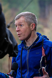 Pictured: Action man Willie Rennie was at ease on the high tightrope as well as the political tightrope.<br /> <br /> Scottish Liberal Democrat leader Willie Rennie joined South of Scotland Liberal Democrat candidate Jim Hume at Go Ape in Glentress Forest, near Peebles. During his visit to the forest, Mr Rennie set out Liberal Democrat plans to ensure that Scotland starts hitting our climate change targets. <br /> Ger Harley   EEm 4 April 2016