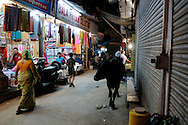India, Delhi. Pahar Ganj is the area in the central Delhi famous for cheap accommodation and hundreds of small shops.