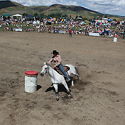 Spectators watch the Barrel Race competition during the Millers Flat Rodeo. Otago, New Zealand. 26th December 2011