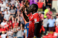Goal - Famara Diedhiou (9) of Bristol City celebrates scoring a goal to make the score 3-1 during the EFL Sky Bet Championship match between Bristol City and Hull City at Ashton Gate, Bristol, England on 21 April 2018. Picture by Graham Hunt.