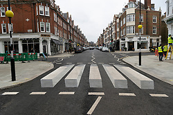 © Licensed to London News Pictures. 01/03/2019. London, UK. The UK's first 3D zebra crossing in St Johns Woord, North London in a bid to slow down the traffic.The optical illusion, which creates a floating effect, has been introduced in St John's Wood by Westminster City Council as part of a 12-month trial. Photo credit: Ray Tang/LNP