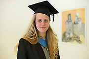 """18/04/2017 REPRO FREE:  <br /> Post BAC Student Morgan Whitehead who graduated from at the 13th conferring ceremony, held in the Minstrels gallery the 16th century Newtown Castle at the heart of the BCA campus, exemplifies the continued success of the Burren's  alternative model of art education . The Irish and  international graduates included Elizabeth Matthews, conferred with  a PhD for her research on Utopian studies , and six international graduates whose work on display in the BCA gallery addressed the ultimate question, """"who am I called to be"""" In her address President of the college Mary Hawkes Greene referred to the unique place based educational  model  committed to  individual student centred  education accredited by NUIGalway , and how it effectively  embraces the often conflicting forces of the global and the local, the public and the private as well as the collective and the individual. <br /> .  Photo:Andrew Downes, xposure"""