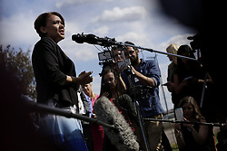 June 21, 2017 - Flint, MI, USA - Flint mayor Karen Weaver talks to the press at Bishop International Airport in Flint, Mich. after a police officer was stabbed earlier in the day on Wednesday, June 21, 2017. (Credit Image: © Romain Blanquart/TNS via ZUMA Wire)
