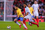 Brazil Liverpool midfielder Philippe Coutinho (11) is tracked by England Southampton defender Ryan Bertrand (3)  during the International Friendly match between England and Brazil at Wembley Stadium, London, England on 14 November 2017. Photo by Simon Davies.