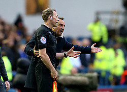 Sheffield Wednesday Manager Carlos Carvalhal argues with the assistant referee after a goal is disallowed from his team - Mandatory by-line: Robbie Stephenson/JMP - 13/05/2016 - FOOTBALL - Hillsborough - Sheffield, England - Sheffield Wednesday v Brighton and Hove Albion - Sky Bet Championship Play-off Semi Final first leg