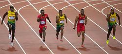 THEMENBILD - Vier Wochen vor Beginn der Freiluft-Weltmeisterschaften in Moskau wird die Leichtathletik gleich von mehreren Dopingfällen hochkarätiger Athleten erschüttert. Am 14. Juli gab zuerst US-Topsprinter Tyson Gay bekannt, eine positive Probe abgegeben zu haben. Wenig später folgte der frühere 100-m-Weltrekordler Asafa Powell aus Jamaika. Hier im Bild: v.l. Usain Bolt (JAM, Gold Medaille), Justin Gatlin (USA, Bronze Medaille), Yohan Blake (JAM, Silber Medaille), Tyson Gay (USA) und Asafa Powell (JAM) am 05.08.2012 im Olympia Stadion in London beim 100m Finale der Herren bei den olympischen Spielen 2013 // THEMES IMAGE - four weeks before the start of the outdoor World Championships in Athletics in Moscow is the same shaken by several high-profile cases of doping athletes. On 14 July was first known U.S. top sprinter Tyson Gay, to have given a positive sample. A little later, the former 100-meter world record holder Asafa Powell of Jamaica followed. Picture Show, v.l.t.r Gold Medal Usain Bolt (JAM) and bronze medal Justin Gatlin (USA) and silver medal Yohan Blake (JAM), Tyson Gay (USA) and Asafa Powell (JAM) on 2012/08/05 at the Olympic Stadium in London during the men's 100m final at the Olympic Games 2013. EXPA Pictures © 2012, PhotoCredit: EXPA/ Johann Groder