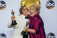 """88th Academy Awards press room.<br /> Production Design winners for the film """"Mad Max:Fury Road,"""" Colin Gibson and Lisa Thompson."""