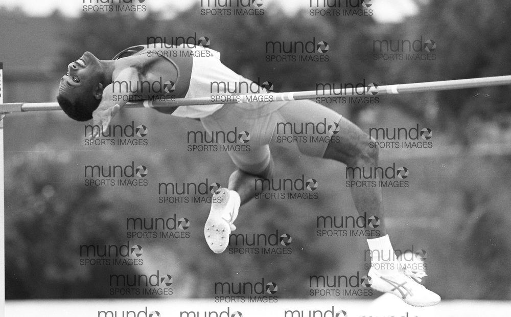 ******This is an unprocessed scan from the negative. You can buy it as is and clean it up yourself, or contact us for rates on providing the service for you. *******<br /> <br /> (Montreal, Canada---18-21 June 1992) Milt Ottey winning the high jump at the 1992 Canada Track and Field Olympic Trials as the complexe sportif Claude-Robillard in Montreal. Photo 1992 Copyright Sean Burges / Mundo Sport Images.<br /> <br /> ******This is an unprocessed scan from the negative. You can buy it as is and clean it up yourself, or contact us for rates on providing the service for you. *******