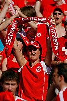 Photo: Glyn Thomas.<br />France v Switzerland. Group G, FIFA World Cup 2006. 13/06/2006.<br /> Switzerland fans cheer on their team.