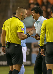 August 4, 2018 - Houston, TX, U.S. - HOUSTON, TX - AUGUST 04:  Referee Chris Penso and Houston Dynamo head coach Wilmer Cabrera exchange heated words during the soccer match between Sporting Kansas City and Houston Dynamo on August 4, 2018 at BBVA Compass Stadium in Houston, Texas.  (Photo by Leslie Plaza Johnson/Icon Sportswire) (Credit Image: © Leslie Plaza Johnson/Icon SMI via ZUMA Press)