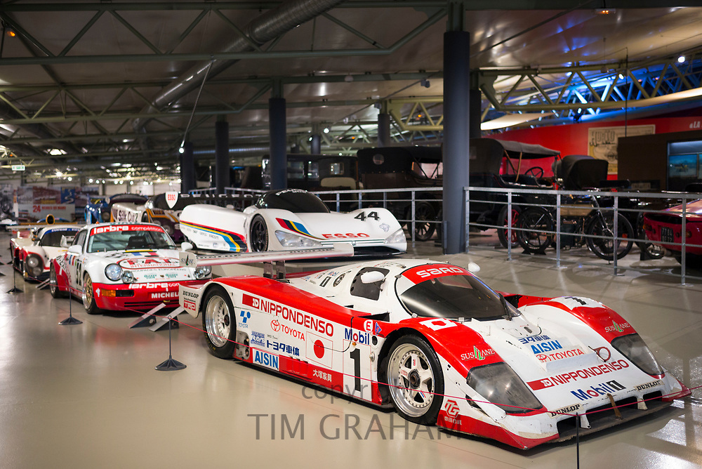 Champion race cars at the exhibition musee at Le Mans Racetrack, France