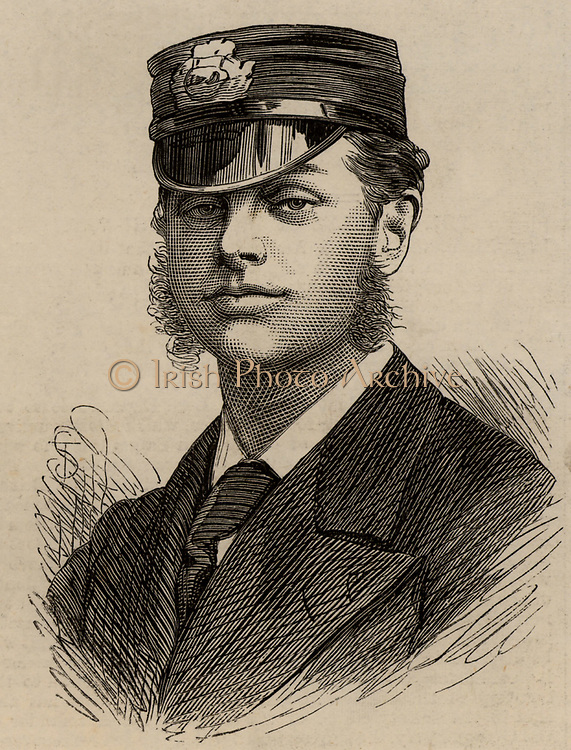 Lieutenant RH Archer, naval officer on HMS Discovery during the British Arctic expedition of 1875, led by George Strong Nares.  Engraving 1875.