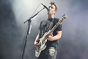 Blink 182 performing on the Honda Civic Tour at Verizon Wireless Amphitheater in St. Louis on August 19, 2011. © Todd Owyoung.