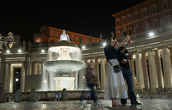 NO FRANCE - NO SWITZERLAND: October 20 2016 : New lighting with LED lamps in St. Peter's Square, in Vatican City.